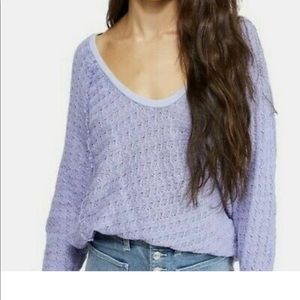 New Free People Thien's Hacci Top Periwinkle